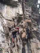 Rock Climbing Photo: Luke getting into the steepness.