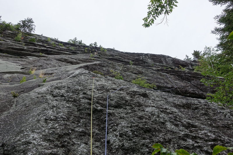 Start of Hank Chinos. Right side of the first head wall has nice climbing, but gives more rope drag.