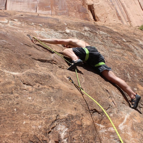Rock Climbing Photo: Clipping the second bolt...  Fell several times go...