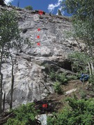 Rock Climbing Photo: Cool Colorado Rain in red, with the 1st 3 bolts ma...