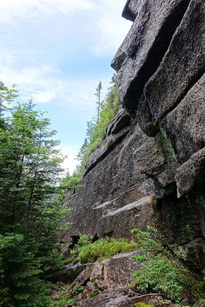 The wet wall on the bushwack. The slab is above. Follow the wall to the right, scramble over when easy and then go left follow the elevation to the slab.