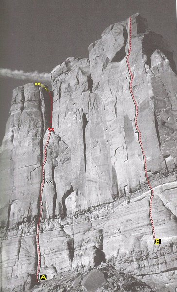 "FA   (A)""Coffin Dodger"" Tombstone Butte (South Side).Bartlett Flat .Moab.With Andy Ross.2009....  Route on right (B)""Tres Gatos"""