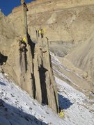 "Rock Climbing Photo: FA (A) ""Bug Eyed Monster"" Palisade .CO P..."