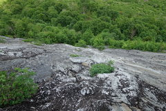 Rock Climbing Photo: Looking down towards P2 that goes on the left of t...