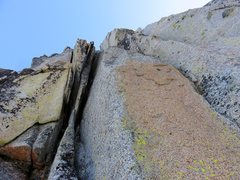 Rock Climbing Photo: Looking up Pitch 2 of The Valkyrie. Goes right fro...