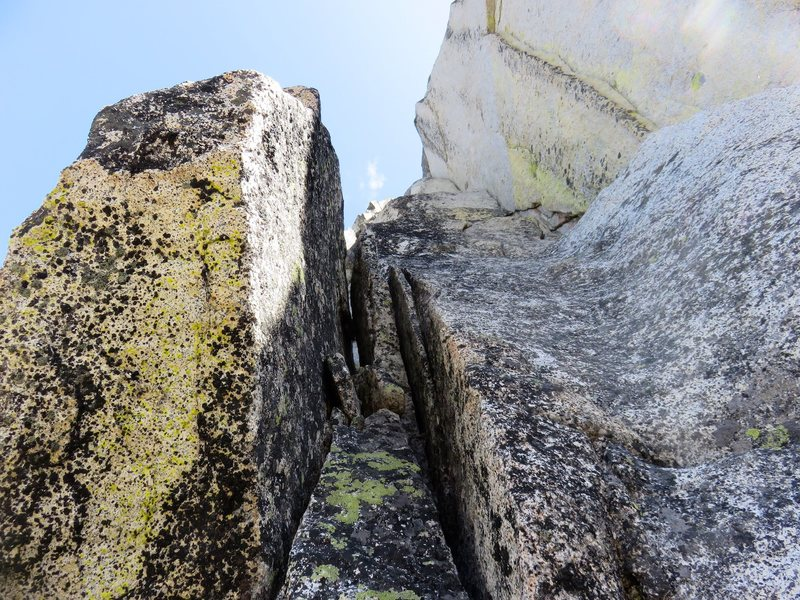 The corner on the second half of Pitch 2 of The Valkyrie. I set an intermediate belay at a nice ledge below this corner.