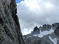 Rock Climbing Photo: Janet at the end of the rightward traverse at the ...