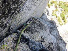 Rock Climbing Photo: Looking down the corner on the second half of Pitc...