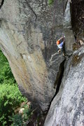 Rock Climbing Photo: Bill N. following the Jolly Green Giant