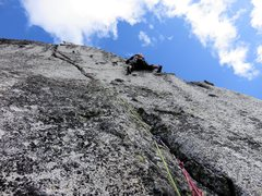 Rock Climbing Photo: Janet climbing the wild (and steep!) knobby face.T...