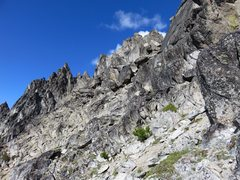 Rock Climbing Photo: This was taken from just below the 5.6 downclimb f...