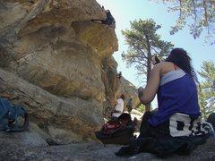 Rock Climbing Photo: On belay, Owen working on that heel hook