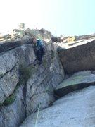 Rock Climbing Photo: Z Man leading 1st pitch Crux