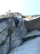 Rock Climbing Photo: Z Man leading 1st pitch Crux