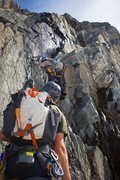 Rock Climbing Photo: Roping up for the first pitch of the West Ridge of...