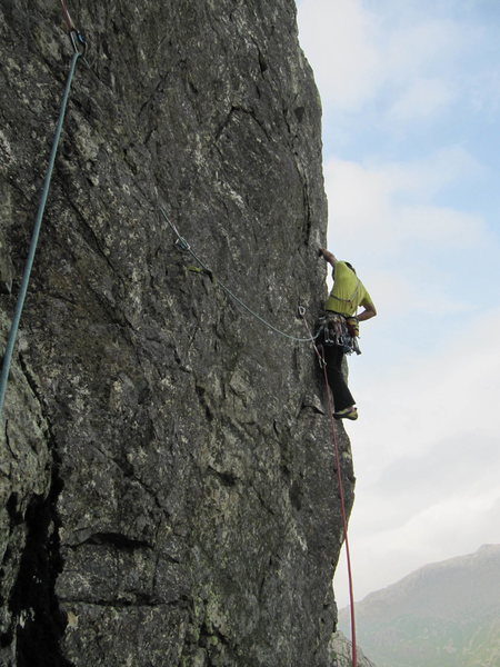 Central Pillar (E2 5b), Esk Buttress, The Lake District