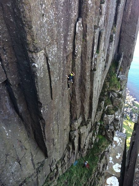 Rock Climbing Photo: Low Profile (E3 5c), Fair Head, Northern Ireland