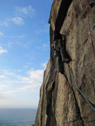 Rock Climbing Photo: Catherine Smith on Suicide Wall (E1 5c), Bosigran,...
