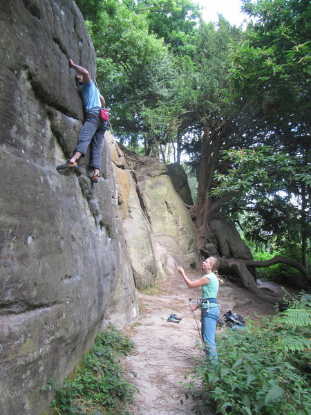 Ed Green on Cat Wall (5c), Stone Farm Rocks, East Sussex