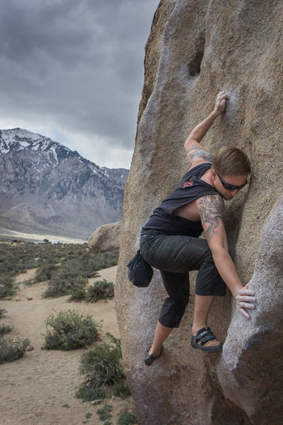 Rock Climbing Photo: Jesse getting his stem game on before the storm hi...