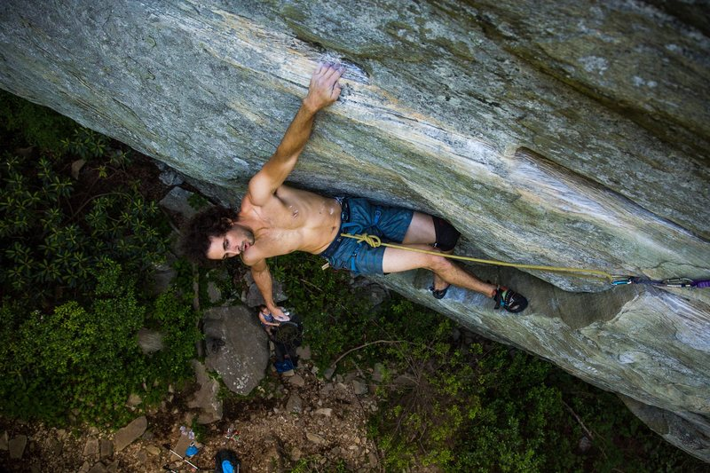 Mike Nalevanko on King of Kings (5.11d), Lower Hawksbill, NC