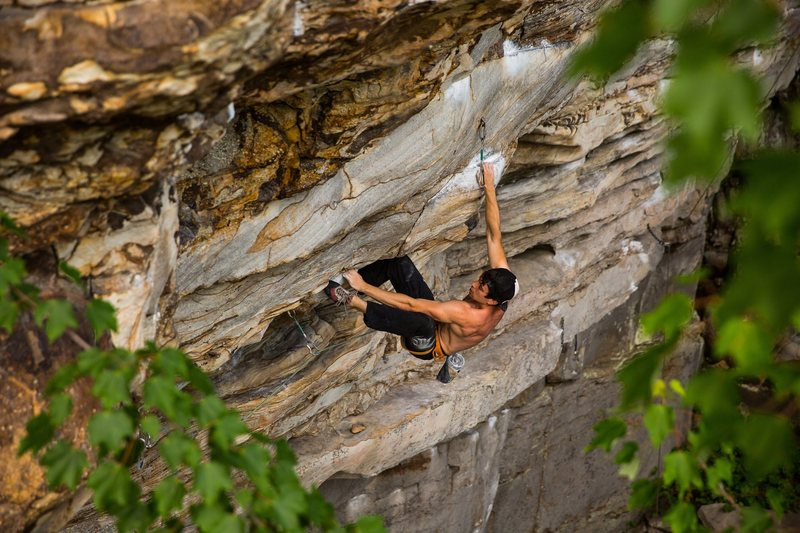 Kurt Fischer on Apollo Reed (5.13a), Summersville Lake, WV