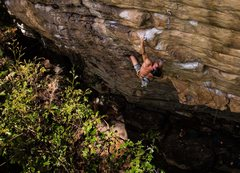 Rock Climbing Photo: Kurt Fischer on Puppy Chow (5.12c), Lower Meadow, ...