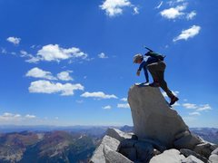 Rock Climbing Photo: Summit block on Snowmass Mt. My 69th, and last 14e...