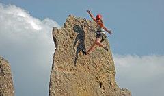 Rock Climbing Photo: Brenda at the Chantilly Lace anchors_Needles Augus...