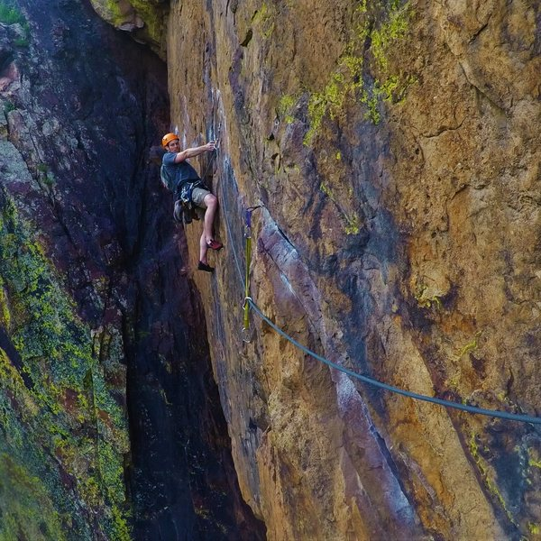 Rosy.<br> Ryan seconding the P1 traverse.<br>
