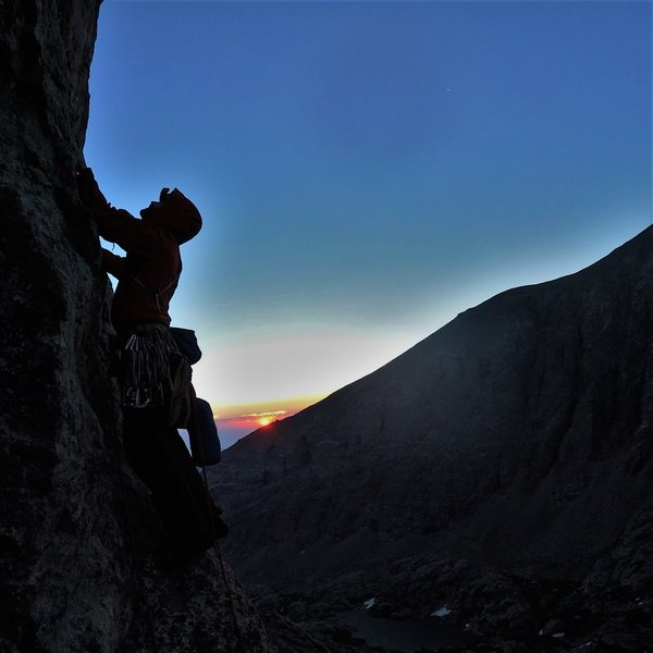 We started climbing at 230am.  The sun caught up with us 4 pitches in, and it was magical.