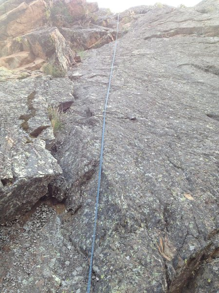 The climbing is a little left of the rope.