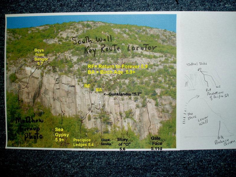 Rock Climbing Photo: Overview of Key Routes (Matt Fienup's photo)