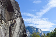 Rock Climbing Photo: going up to the crux with the Chief in the backgro...