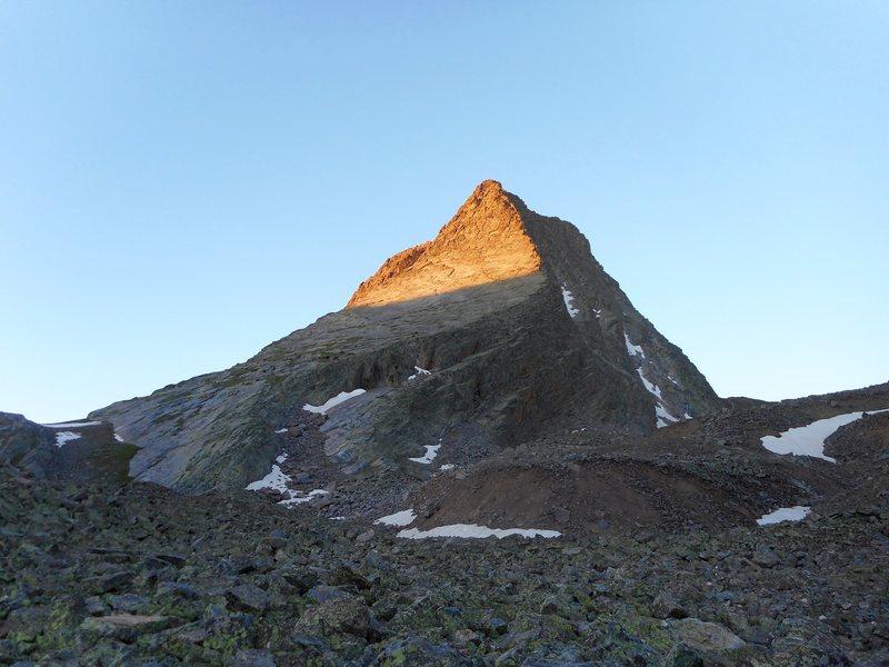 Early light on Wham ridge, Vestal peak. San Juans. Free solo.