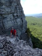 Rock Climbing Photo: Climber Joe climbing onto the ramp near the top of...