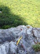Rock Climbing Photo: Climbing third pitch to the pine trees.  Looking b...