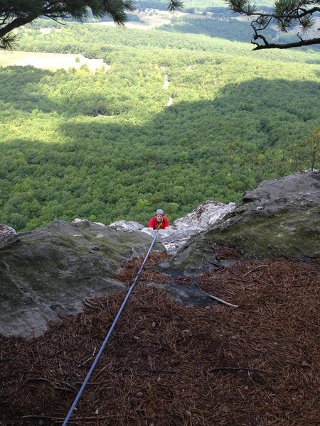 Belaying from the pine trees. Top of my third pitch.