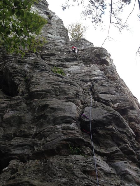 Rock Climbing Photo: First pitch of Sentinel.