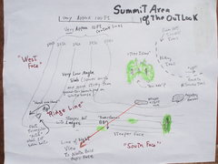Rock Climbing Photo: Sketch of Summit Area of Outlook