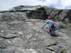 Rock Climbing Photo: RW approaches the buttress whose top appears to be...