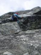 Rock Climbing Photo: RW on top of buttress: flake his right hand is on ...