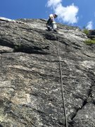 """Rock Climbing Photo: RH at the 1st bolt on """"Sun and Games"""" ju..."""