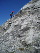 "Rock Climbing Photo: RW scrambling on easy ledges from the ""ridge&..."