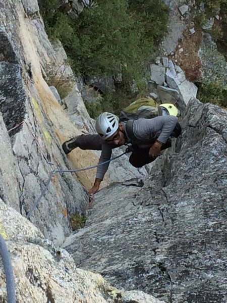 Rock Climbing Photo: Mostafa stemming the pitch one dihedral on North C...