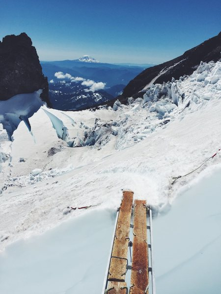 The one and only ladder crossing just above Ingraham Flats on our descent.