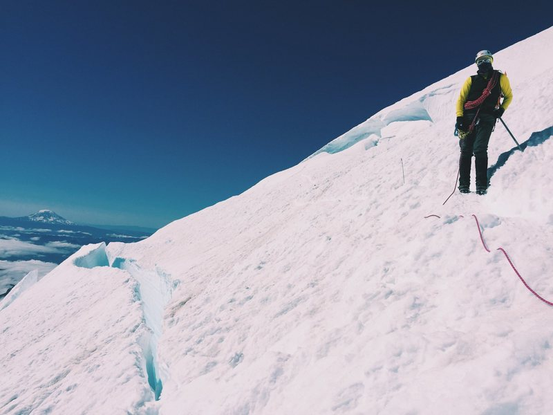 Traversing a crevasse around 13,000ft