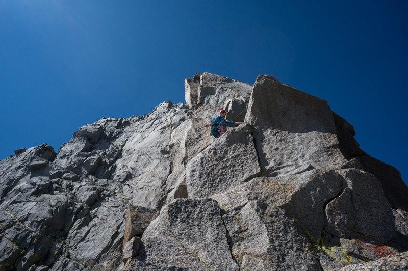 Climbing massive blocks on pitch 2.