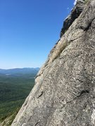 Rock Climbing Photo: Start of P2 looking to the west (windmills in the ...
