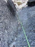 Rock Climbing Photo: Thin slabby corner on Pitch 3.